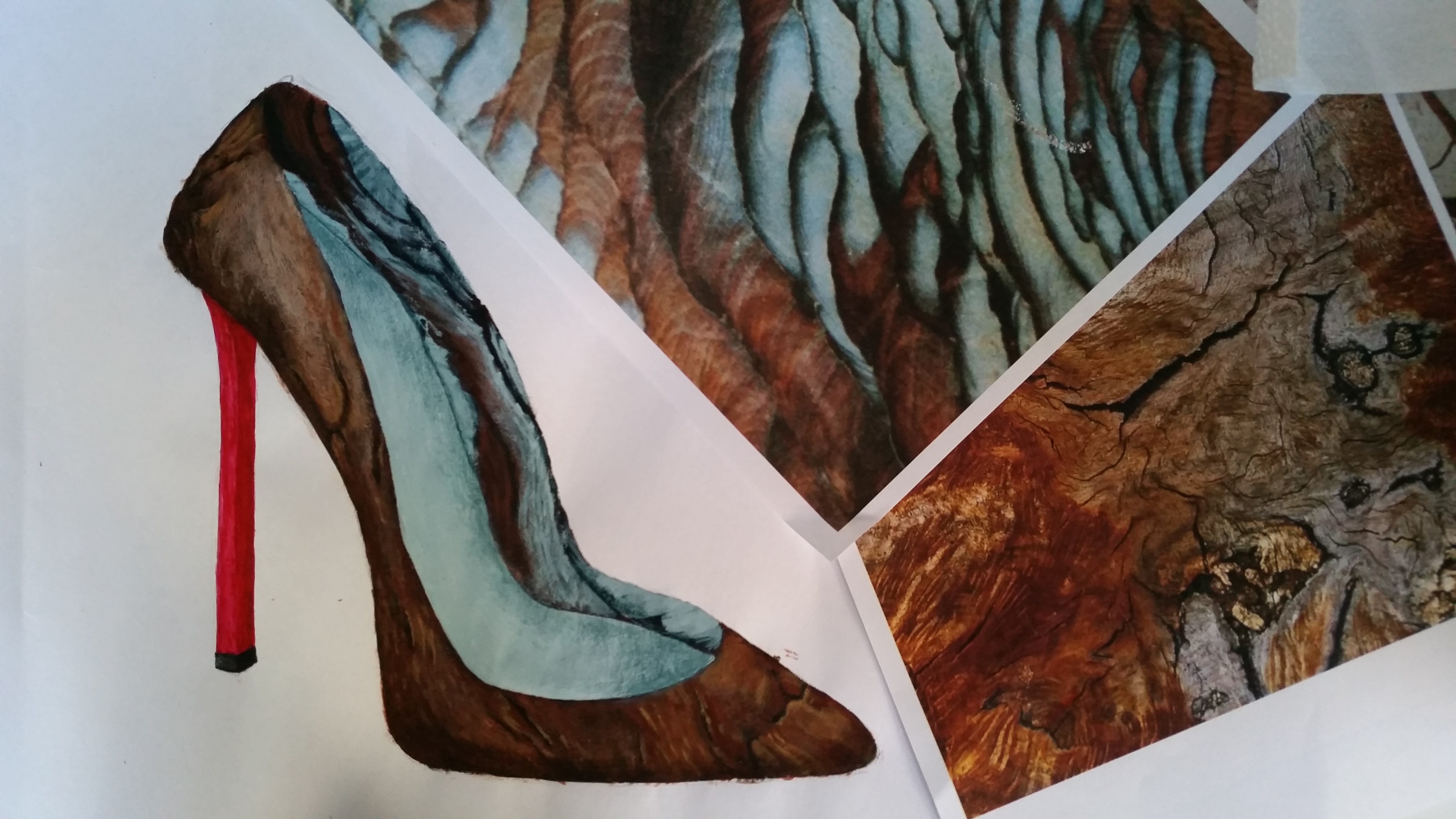Hier war es die Aufgabe einen Schuh zu zeichnen und ihn mit Materialien wie Holz, Gestein, Schuppen etc. zu füllen.