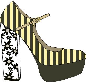 Das ist eine technische Zeichnung eines Schuhs. Erstellt habe ich sie mit dem Computerprogramm Illustrator von Adobe
